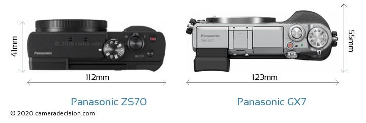 Panasonic ZS70 vs Panasonic GX7 Camera Size Comparison - Top View