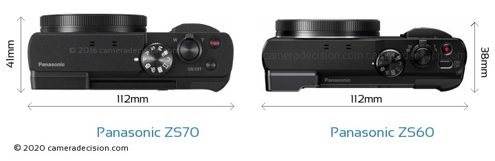 Panasonic ZS70 vs Panasonic ZS60 Camera Size Comparison - Top View