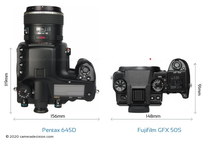Pentax 645D vs Fujifilm GFX 50S Camera Size Comparison - Top View