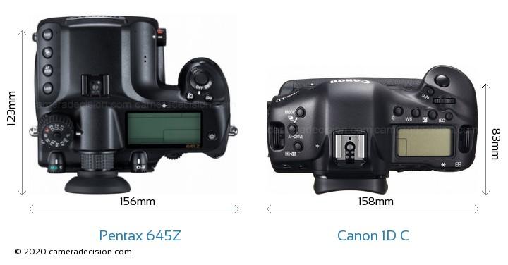 Pentax 645Z vs Canon 1D C Camera Size Comparison - Top View