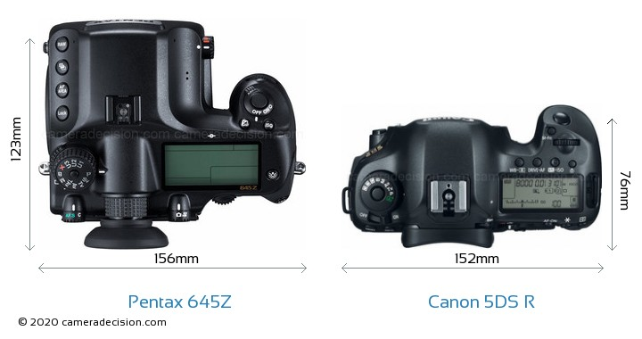 Pentax 645Z vs Canon 5DS R Camera Size Comparison - Top View