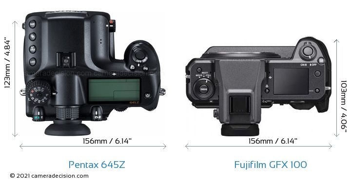 Pentax 645Z vs Fujifilm GFX 100 Camera Size Comparison - Top View