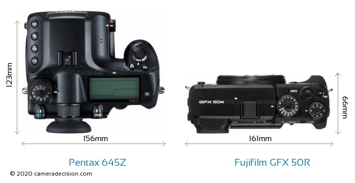 Pentax 645Z vs Fujifilm GFX 50R Camera Size Comparison - Top View