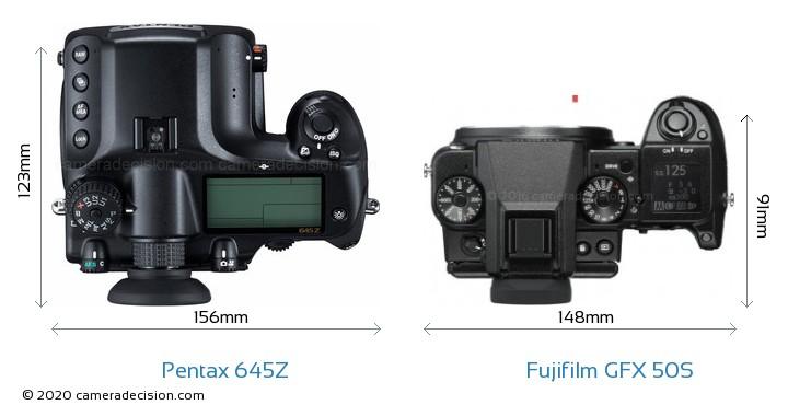 Pentax 645Z vs Fujifilm GFX 50S Camera Size Comparison - Top View