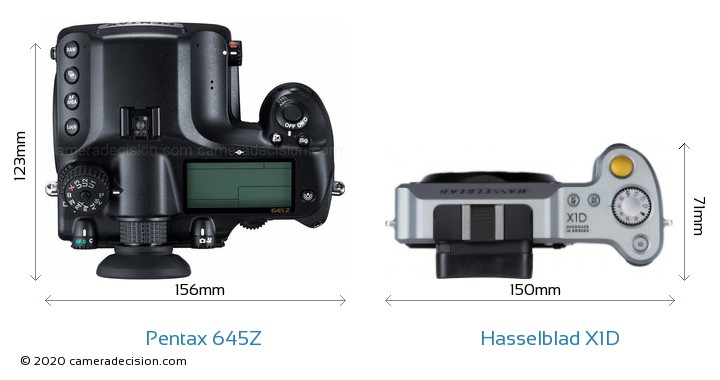 Pentax 645Z vs Hasselblad X1D Camera Size Comparison - Top View