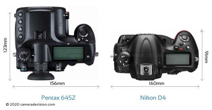 Pentax 645Z vs Nikon D4 Camera Size Comparison - Top View