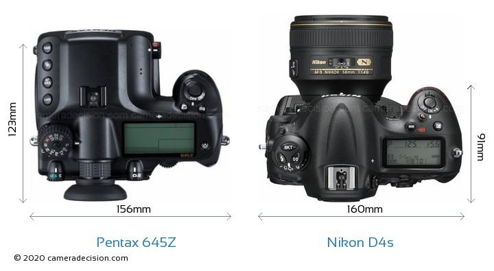 Pentax 645Z vs Nikon D4s Camera Size Comparison - Top View