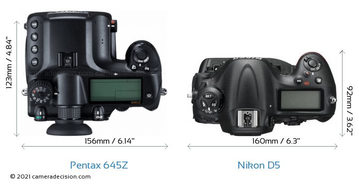 Pentax 645Z vs Nikon D5 Camera Size Comparison - Top View