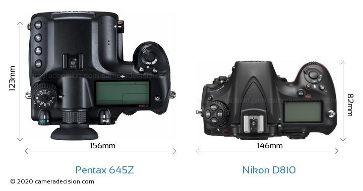 Pentax 645Z vs Nikon D810 Camera Size Comparison - Top View