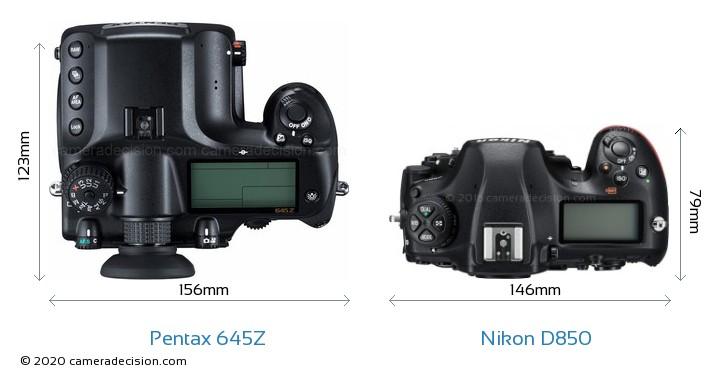 Pentax 645Z vs Nikon D850 Camera Size Comparison - Top View
