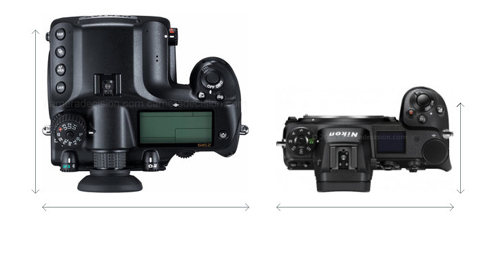 Pentax 645Z vs Nikon Z6 Camera Size Comparison - Top View