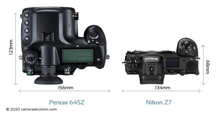 Pentax 645Z vs Nikon Z7 Camera Size Comparison - Top View