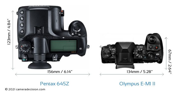 Pentax 645Z vs Olympus E-M1 II Camera Size Comparison - Top View