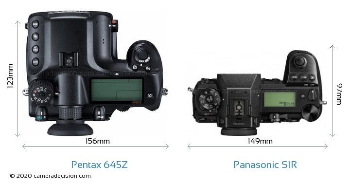 Pentax 645Z vs Panasonic S1R Camera Size Comparison - Top View