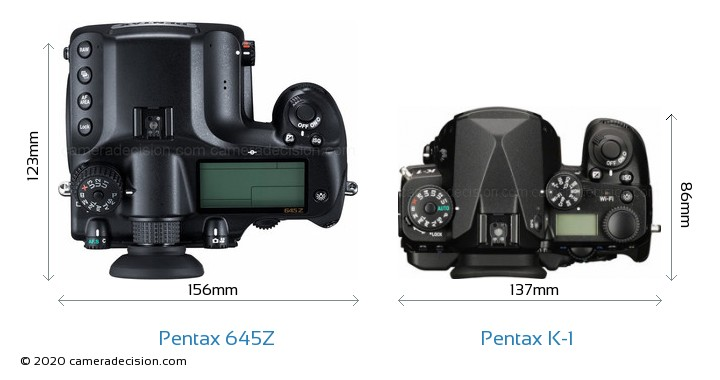 Pentax 645Z vs Pentax K-1 Camera Size Comparison - Top View
