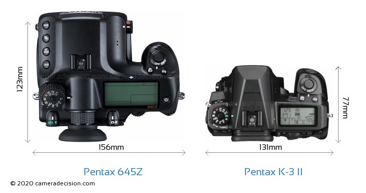 Pentax 645Z vs Pentax K-3 II Camera Size Comparison - Top View