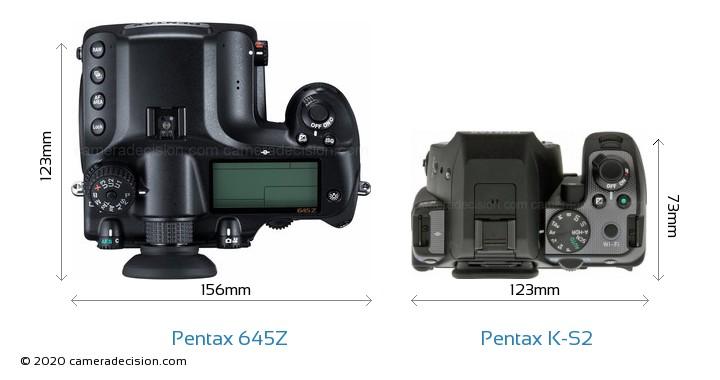 Pentax 645Z vs Pentax K-S2 Camera Size Comparison - Top View