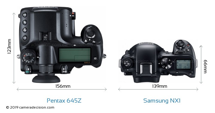 Pentax 645Z vs Samsung NX1 Camera Size Comparison - Top View