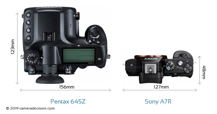 Pentax 645Z vs Sony A7R Camera Size Comparison - Top View