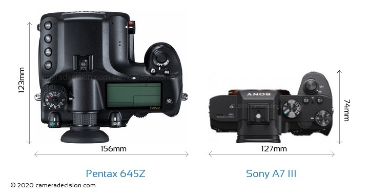 Pentax 645Z vs Sony A7 III Camera Size Comparison - Top View