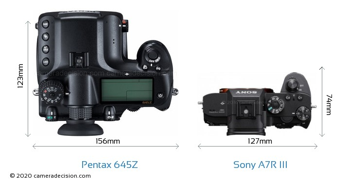 Pentax 645Z vs Sony A7R III Camera Size Comparison - Top View