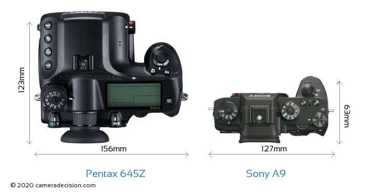 Pentax 645Z vs Sony A9 Camera Size Comparison - Top View