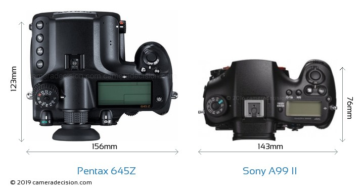 Pentax 645Z vs Sony A99 II Camera Size Comparison - Top View