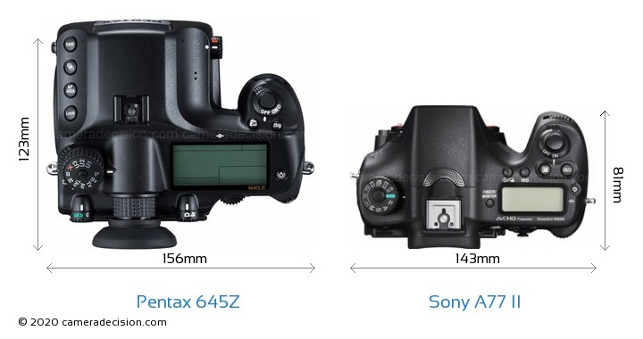 Pentax 645Z vs Sony A77 II Camera Size Comparison - Top View