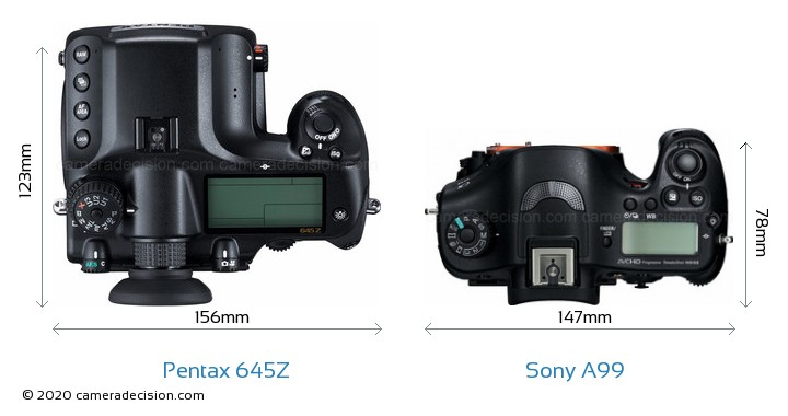 Pentax 645Z vs Sony A99 Camera Size Comparison - Top View