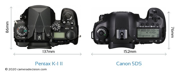 Pentax K-1 II vs Canon 5DS Camera Size Comparison - Top View