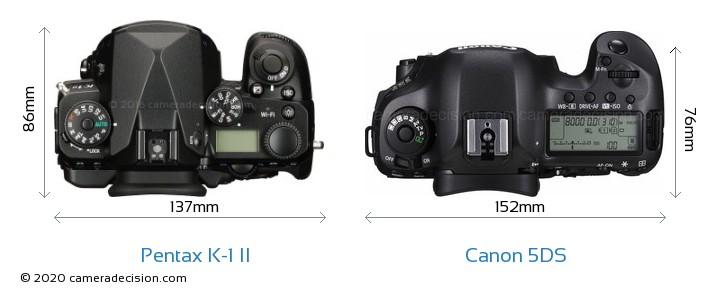 Pentax K-1 II vs Canon 5DS Camera Size Comparison - Top View