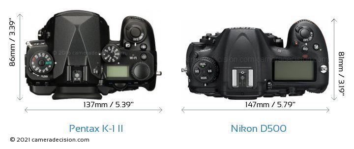 Pentax K-1 II vs Nikon D500 Camera Size Comparison - Top View