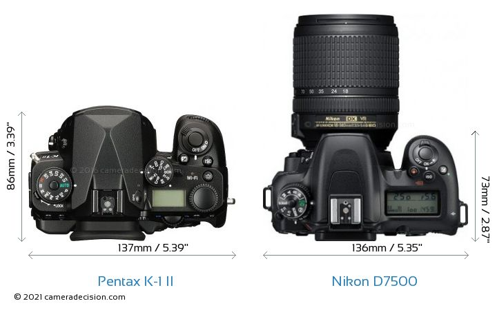 Pentax K-1 II vs Nikon D7500 Camera Size Comparison - Top View