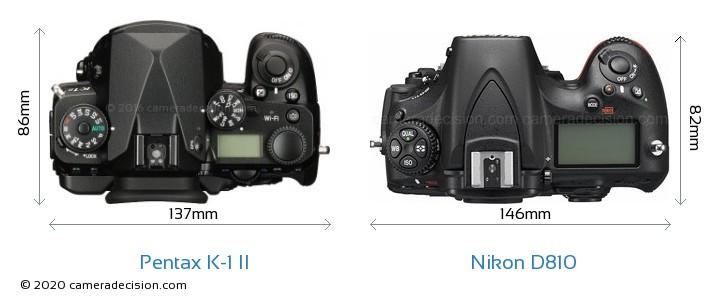 Pentax K-1 II vs Nikon D810 Camera Size Comparison - Top View