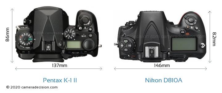 Pentax K-1 II vs Nikon D810A Camera Size Comparison - Top View