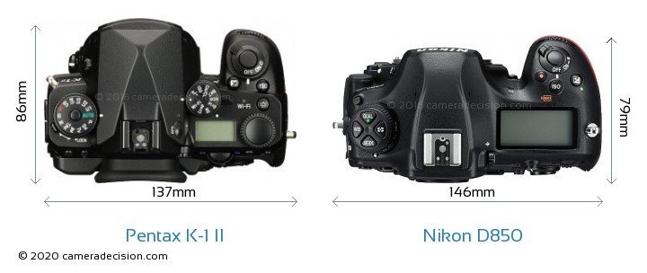 Pentax K-1 II vs Nikon D850 Camera Size Comparison - Top View