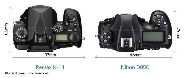 Pentax K-1 II vs Nikon D850 Camera Size Comparison - Top View