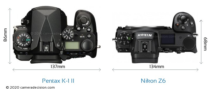 Pentax K-1 II vs Nikon Z6 Camera Size Comparison - Top View