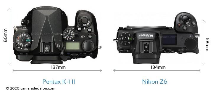 Pentax K-1 II vs Nikon Z 6 Camera Size Comparison - Top View