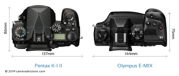 Pentax K-1 II vs Olympus E-M1X Camera Size Comparison - Top View