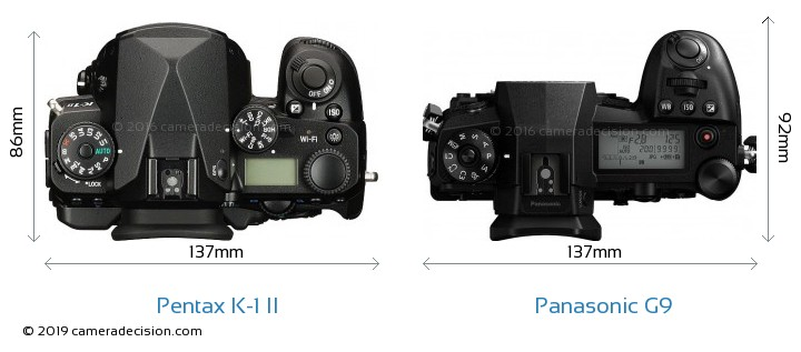 Pentax K-1 II vs Panasonic G9 Camera Size Comparison - Top View