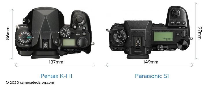 Pentax K-1 II vs Panasonic S1 Camera Size Comparison - Top View