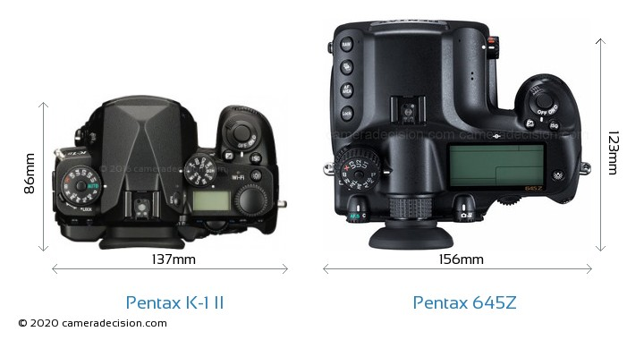 Pentax K-1 II vs Pentax 645Z Camera Size Comparison - Top View