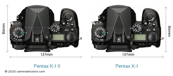 Pentax K-1 II vs Pentax K-1 Camera Size Comparison - Top View