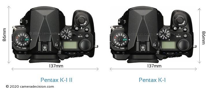Pentax K-1 II vs Pentax K-1 Camera Size Comparison - Top View