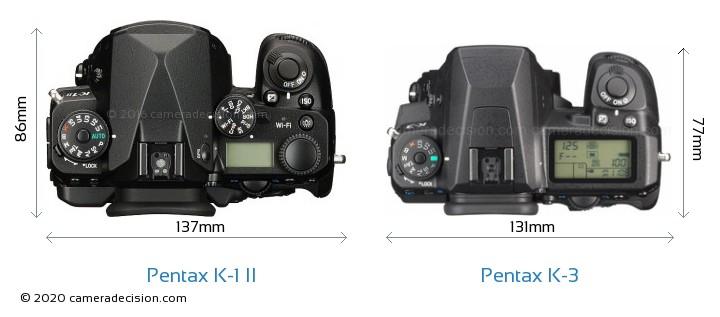 Pentax K-1 II vs Pentax K-3 Camera Size Comparison - Top View