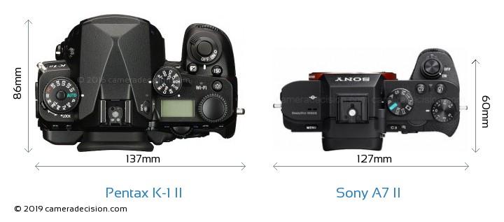 Pentax K-1 II vs Sony A7 II Camera Size Comparison - Top View