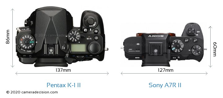 Pentax K-1 II vs Sony A7R II Camera Size Comparison - Top View