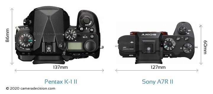 Pentax K-1 II vs Sony A7R II Camera Size Comparison - Top View