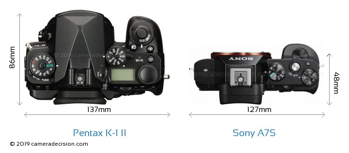 Pentax K-1 II vs Sony A7S Camera Size Comparison - Top View
